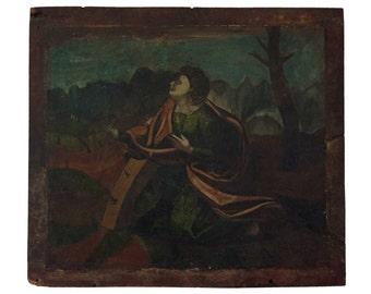 18th Century Italian Painting on Walnut Panel