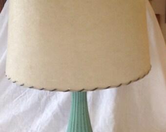 Midcentury Modern Turquoise Lamp with Fiberglass Shade