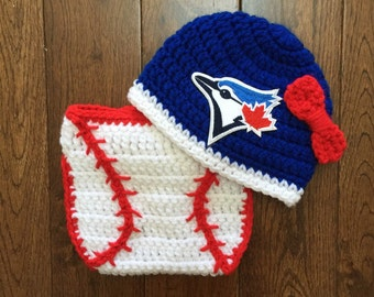 Toronto Blue Jays Baby Girl Crochet Bow Hat with MLB Patch and Baseball Diaper Cover Set Photo Prop (Made to Order)