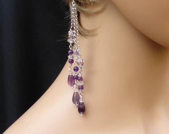 Long purple fluorite and crystal quartz earrings