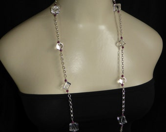 Long Beautiful Quality Crystal Quartz and Ruby Necklace