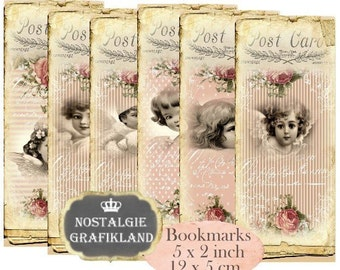 Angels Bookmarks Instant Download digital collage sheet E167 Vintage Paper