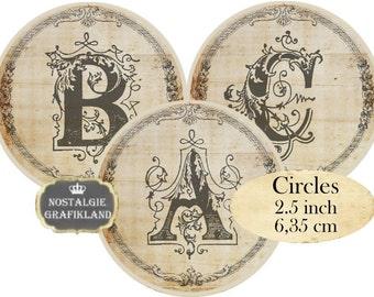 Circle 2.5 inch Vintage Alphabet Instant Download digital collage sheet C166 Circles ABC