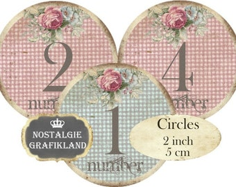 Shabby Chic Numbers Circle 2 inch Instant Download digital collage sheet C188