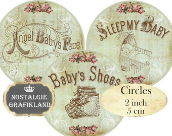 Vintage Baby Circles 2 inch Vintage Baby Instant Download digital collage sheet Christening Shower C272