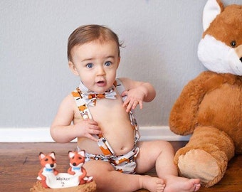 Smash cake outfit boy, first birthday, tie, diaper cover, suspenders, hat, custom fabrics
