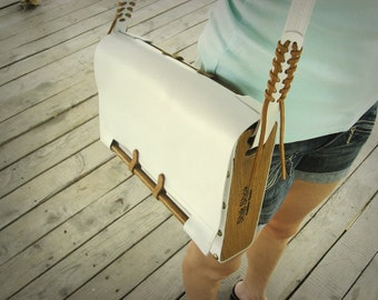 Handmade modern leather - wood case for books and ipad / made to order