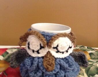 Crochet owl coffee/tea cup cozy