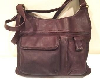 Fossil handbag dark brown soft pebbled leather vintage large purse shoulder bag