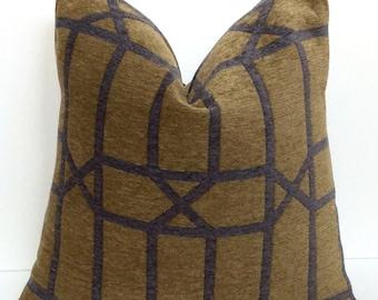 Olive Green and Gray Chenille Decorative 18 X 18 Pillow Cover, Invisible Zipper Closure