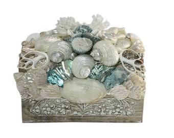 Carved White and Aqua Blue Beach Decor Shell Box -Seashell Box