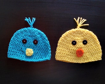 Crochet chick hat, Crochet bird hat, Easter hat, Crochet Beanie