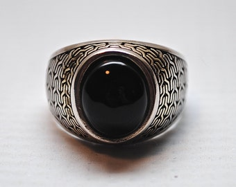 Sterling Silver Onyx Ring Sz 10 #3132