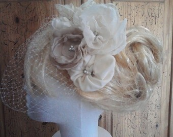 Birdcage Veil Hairpiece, Ivory and Oatmeal Flowers Wedding Headpiece, Ivory Wedding Veil,  Birdcage  Bridal Hairpiece , Ivory and Tan