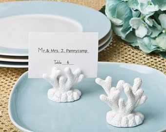 Coral Beachy Place Card Holder