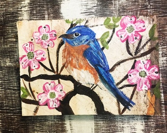 Dogwood Painting Acrylic Bird Painting Dogwood Art Eastern Bluebird Bluebird Painting