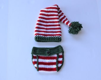 Handmade crochet elf hat and diaper cover; stocking cap; Christmas card picture; pom-pom; baby beanie; holiday hat; Christmas morning