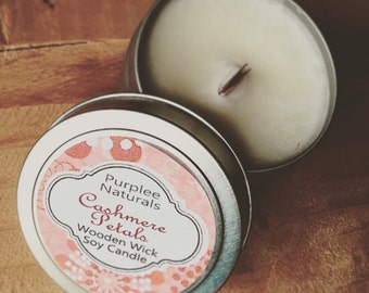 Wooden Wick Soy Candle {CASHMERE PETALS} ~ New Fall/WInter release HIgh Quality Scent Oil {Best Selling Collection}