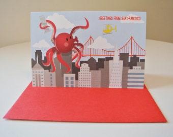 Giant Octopus Greetings - SF
