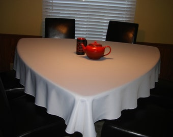 """For Triangle Dining Table Approximately 50"""" - A 65"""" Ivory Triangle Tablecloth"""