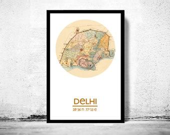 DELHI - city poster - city map poster print