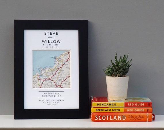 Personalised Wedding Gifts Vintage : MAP WEDDING PRINTvintage map wedding giftpersonalised map print