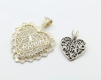 Pair of Sterling Silver Grandmother Heart Pendants. [6025]