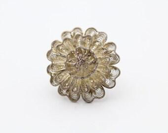 Vintage Sterling Silver 3D Filigree Flower Ring Size 6 Adjustable Base Metal. [6720]