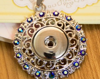 Large Silver Pendant with Sapphire Crystals All Around Edge