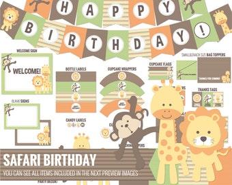 Safari Birthday package, all you need to decor your safari birthday - Printable PDF files.