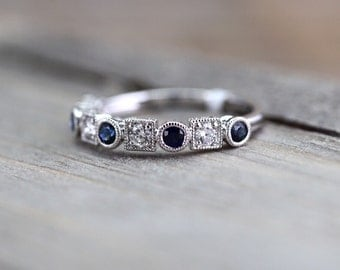 18K White Gold Vintage Classic Multi Side Face Diamond with Sapphire Ring Wedding Engagement Ring Milgrain Etching Band