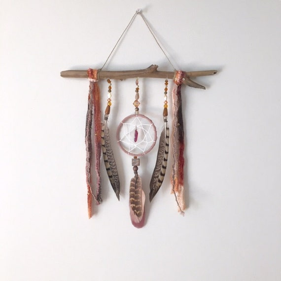 Dream catcher wall hanging dream altar feather wall for Altar wall decoration