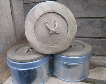 Vintage Storage tin, wooden button top storage tin, button tin, craft room storage, craft supplies.