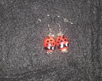 Lady Bug Glass Earring Set