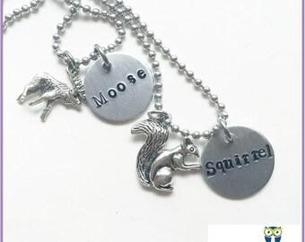 Moose Squirrel Best Friend Necklace for 2, Friendship Necklace for 2, SPNFamily Moose and Squirrel, Friendship Jewelry, Fandom Merch