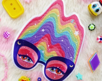 Vintage Inspired Pastel Rainbow Glasses Iron-On Patch