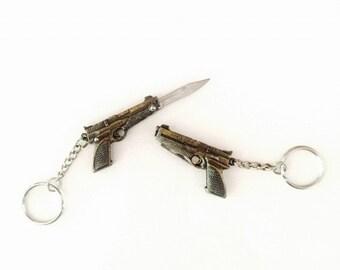 Mini Gun Pocket Knife Charm Keychain