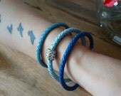 Blue Braided Leather Bracelet Magnet Clasp - Baby Blue Light Blue Electric Blue Braided Leather Bracelet -  Blue Bracelet - Men's Bracelet
