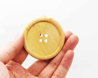 5 Extra Large Beige Wooden Button, Coat Button, Decorative Button, Huge Four Holes Wide Edge Button, Natural Wood Button, 50mm