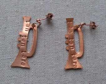 Copper And Rose Gold Plated Drop Dangly Stud Trumpet Earrings  - Hand Stamped 'Tan Tan Tara' - For Music Lovers