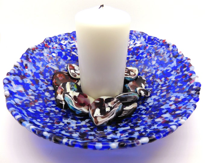Round blue glass dish. Large royal blue bowl. Gifts for her. fused glassware. Wedding anniversary gifts birthday, leaving, housewarming gift