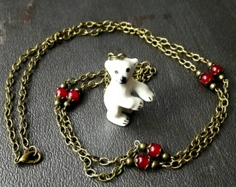 Extralong necklace hand made porcelaine baby bear