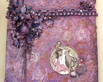 "Lady in lilac"" from Triptych ""Beauties by Mucha"" Mixed media on wooden base"