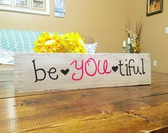 Beyoutiful, be you tiful sign, beautiful wood sign, girls room decor, inspirational sign, quote sign, gallery wall, beautiful wooden sign
