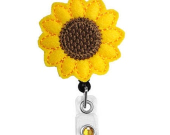 Sunflower - Name Badge Holder - Nurses Badge Holder - Cute Badge Reels - Unique ID Badge Holder - Felt Badge - RN Badge Reel - Retractable