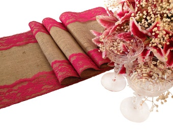 Burlap Lace Table Runner Fuschia Pink Lace Rustic Wedding Table Runner 12