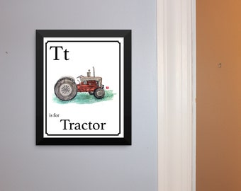 "Alphabet Cards - ""T"" is for Tractor Hand Drawn Pen & Ink Sketch With Watercolor Effect Print Of Vintage Farm Tractor"