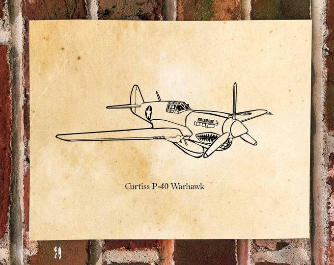 KillerBeeMoto: Limited Print Curtiss P-40 Warhawk Fighter Aircraft Print 1 of 50