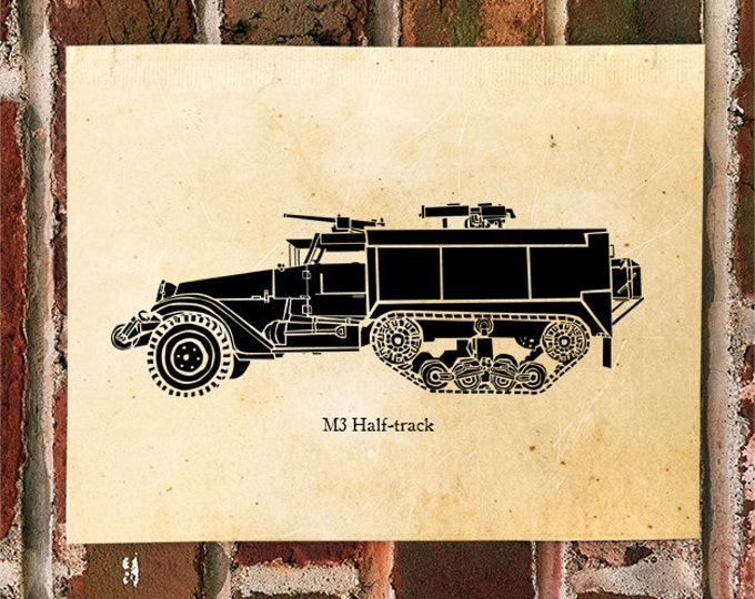 KillerBeeMoto: Limited Print American World War Two M3 Half Track Transport Scout Vehicle Print 1 of 50