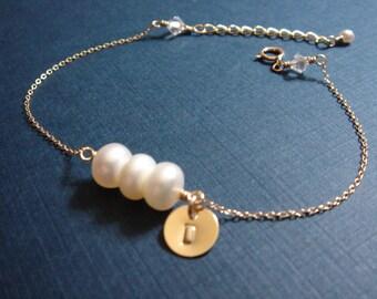 White Pearl Bracelet - 14k Gold Filled Initial Bracelet - Monogram Engrave - Bridal Jewelry - Bridesmaid Gift